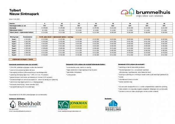 Prijslijst Brummelhuis
