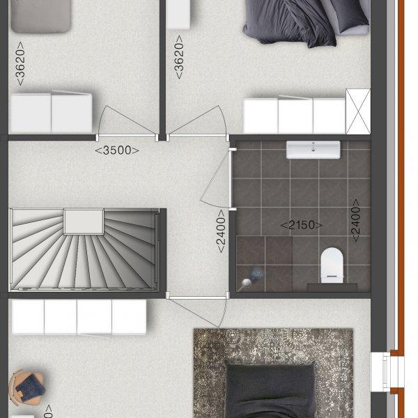 Tussenwoning eerste verdieping