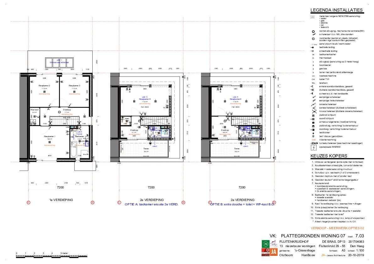 Optieplattegronden twee onder een kapwoningen bnrs 7 en 8 deel 2