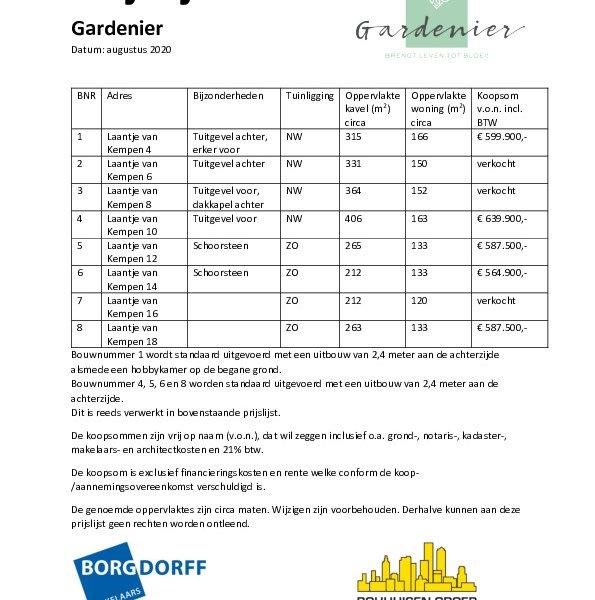 Prijslijst Gardenier
