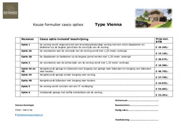Vienna - Optieformulier