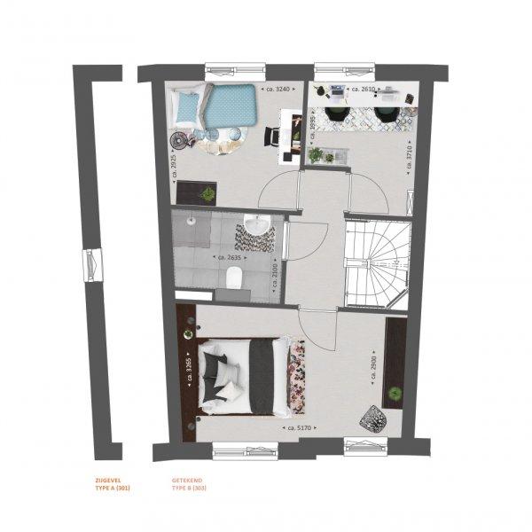 Plattegrond type A en B verdieping