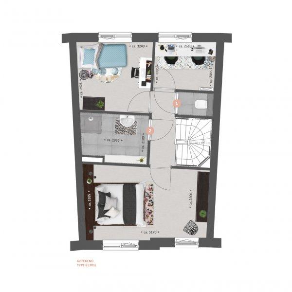 Plattegrond type A en B verdieping opties