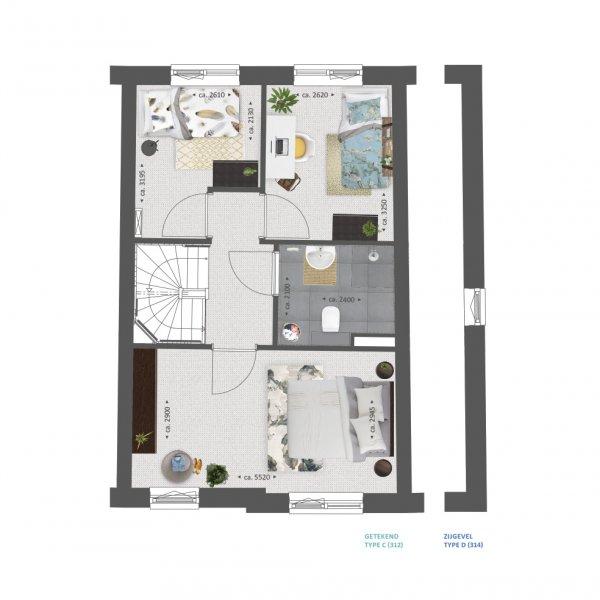Plattegrond type C en D verdieping