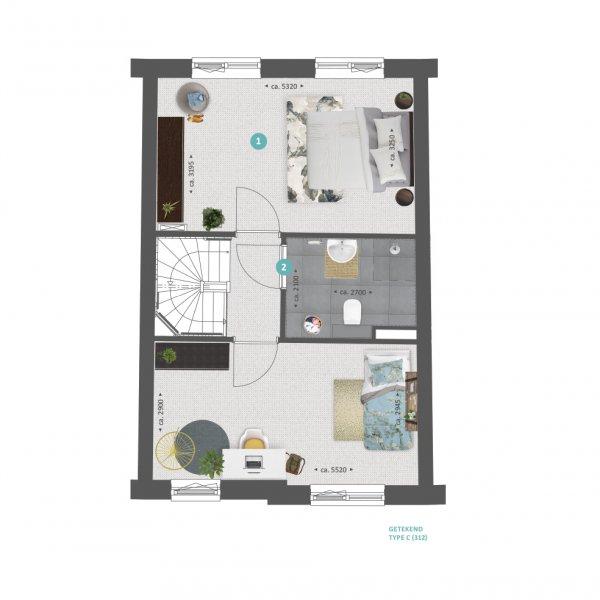 Plattegrond type C en D verdieping opties