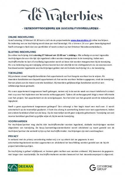 Verkoopprocedure en inschrijfvoorwaarden de Waterbies