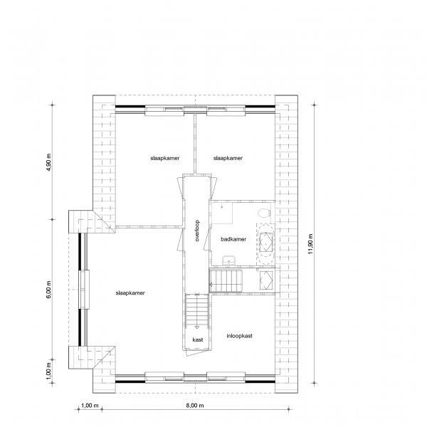 Begane grond, eerste verdieping, tweede verdieping