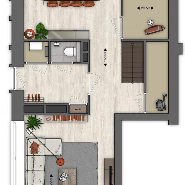 Type O Beneden- en bovenwoning (blok G14), bouwnummer 18