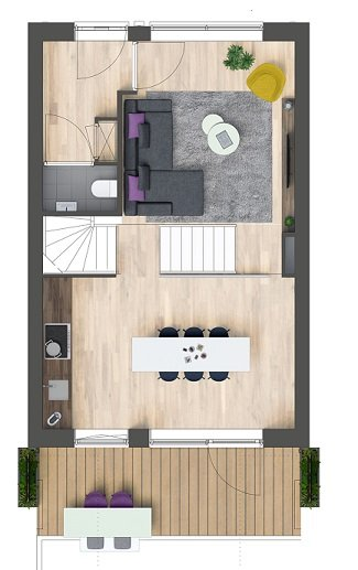 Herenhuizen - binnentuin, bouwnummer 6