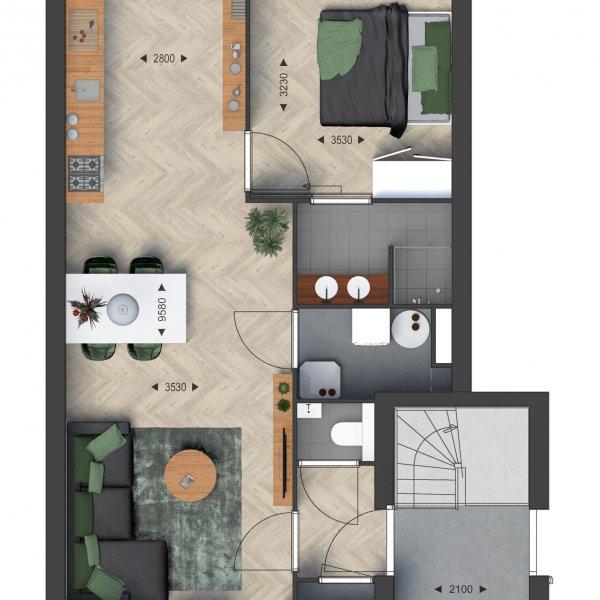 Beneden- / Bovenwoningen, bouwnummer 18