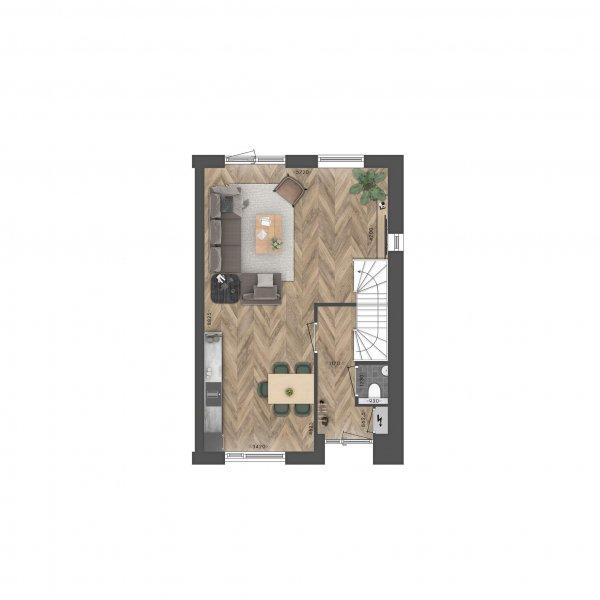 Kruismast | Driemaster tussenwoning, bouwnummer 35
