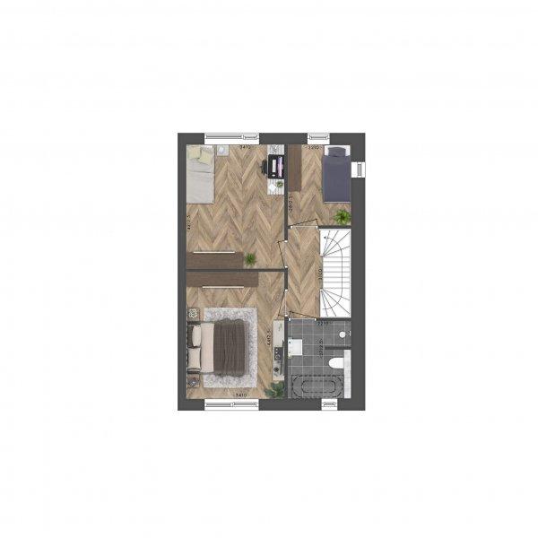 Kruismast | Driemaster hoekwoning, bouwnummer 1