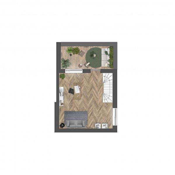 Kruismast | Driemaster hoekwoning, bouwnummer 20