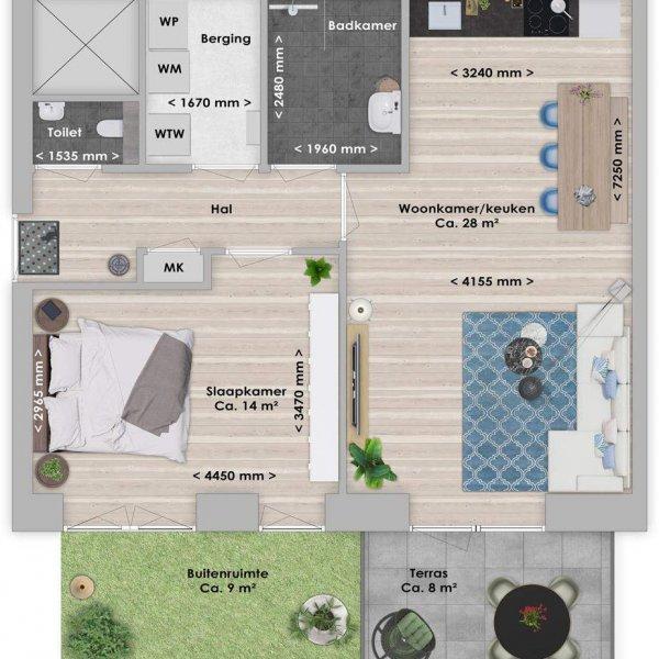 De Houttuin fase 2 Abura, 2-kamer 60 m², bouwnummer 229