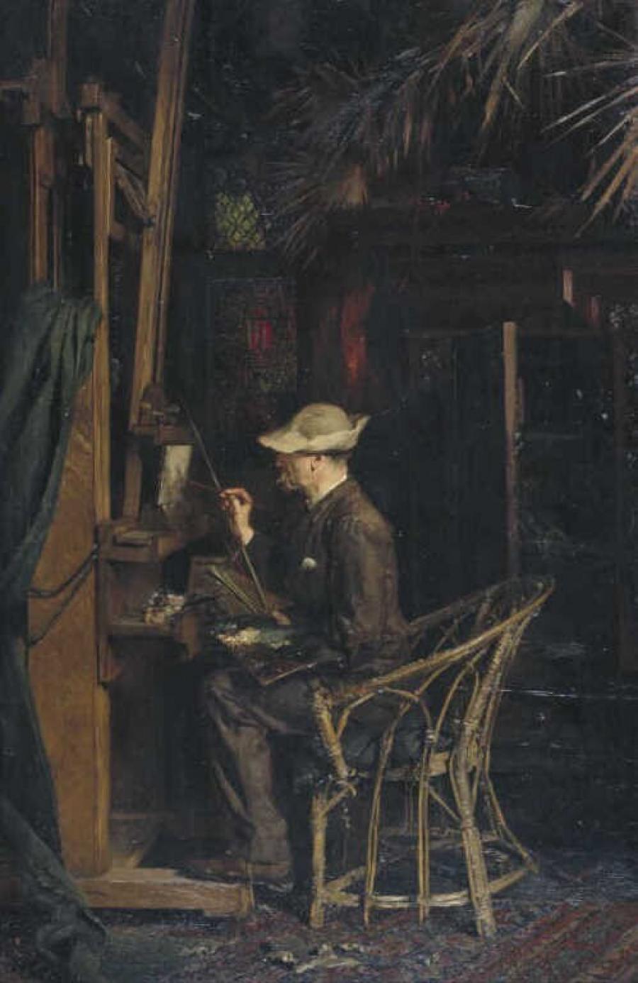 De schilder Jan Linse in het atelier van Van Maasdijk, Oudedijk Rotterdam