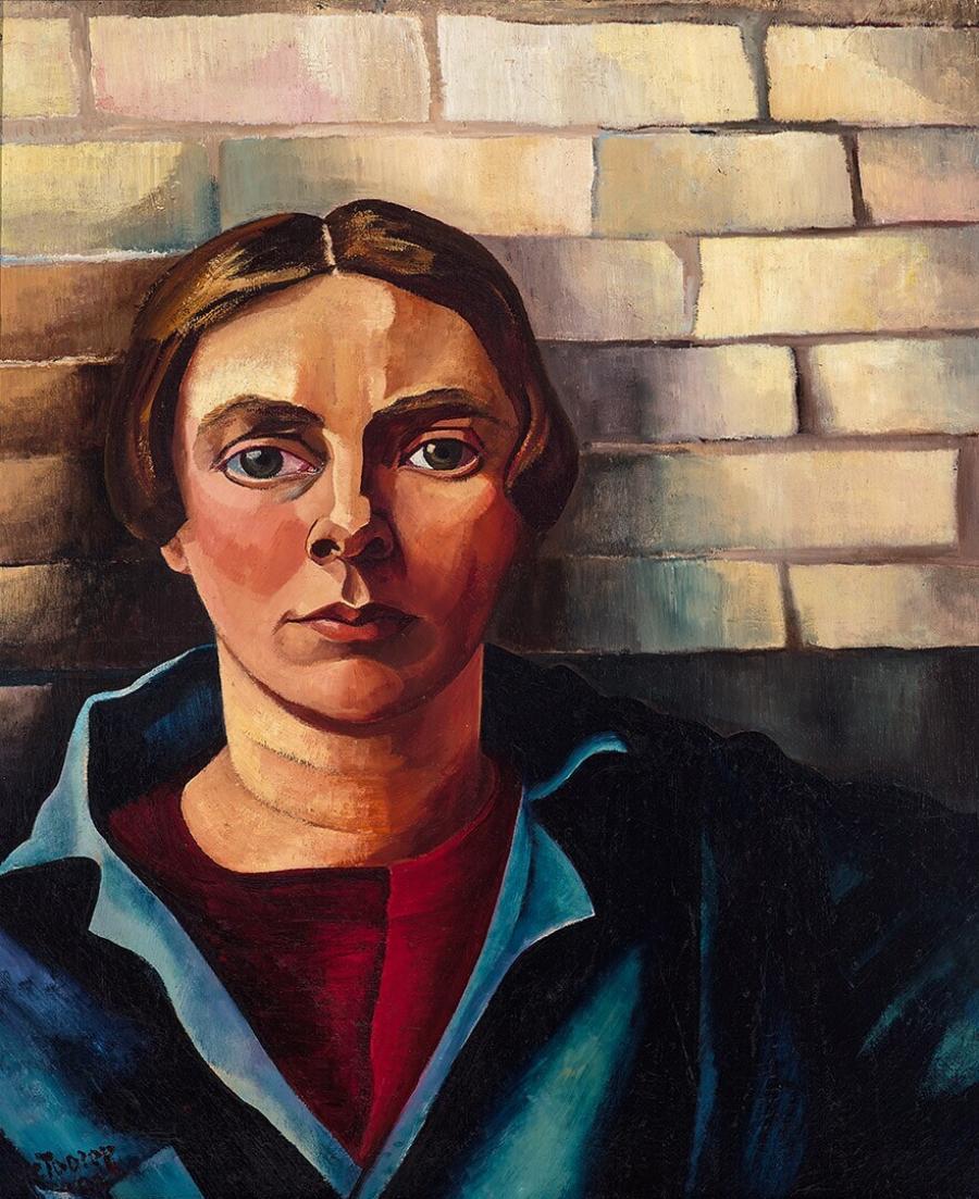 Zelfportret tegen muur