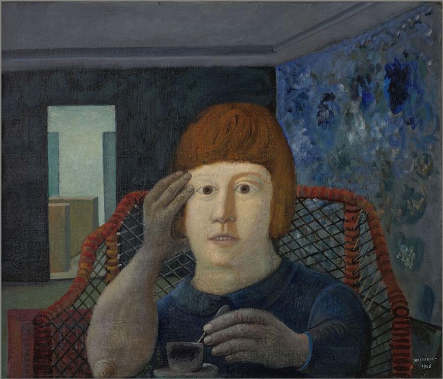 Vrouw in rode rietstoel
