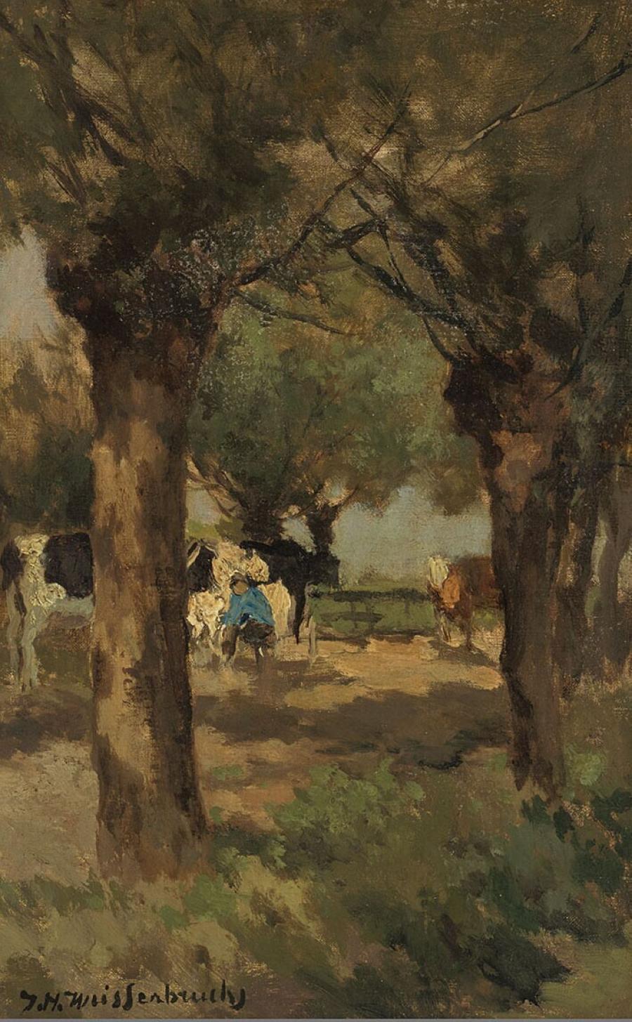 Koeien melken onder de wilgen