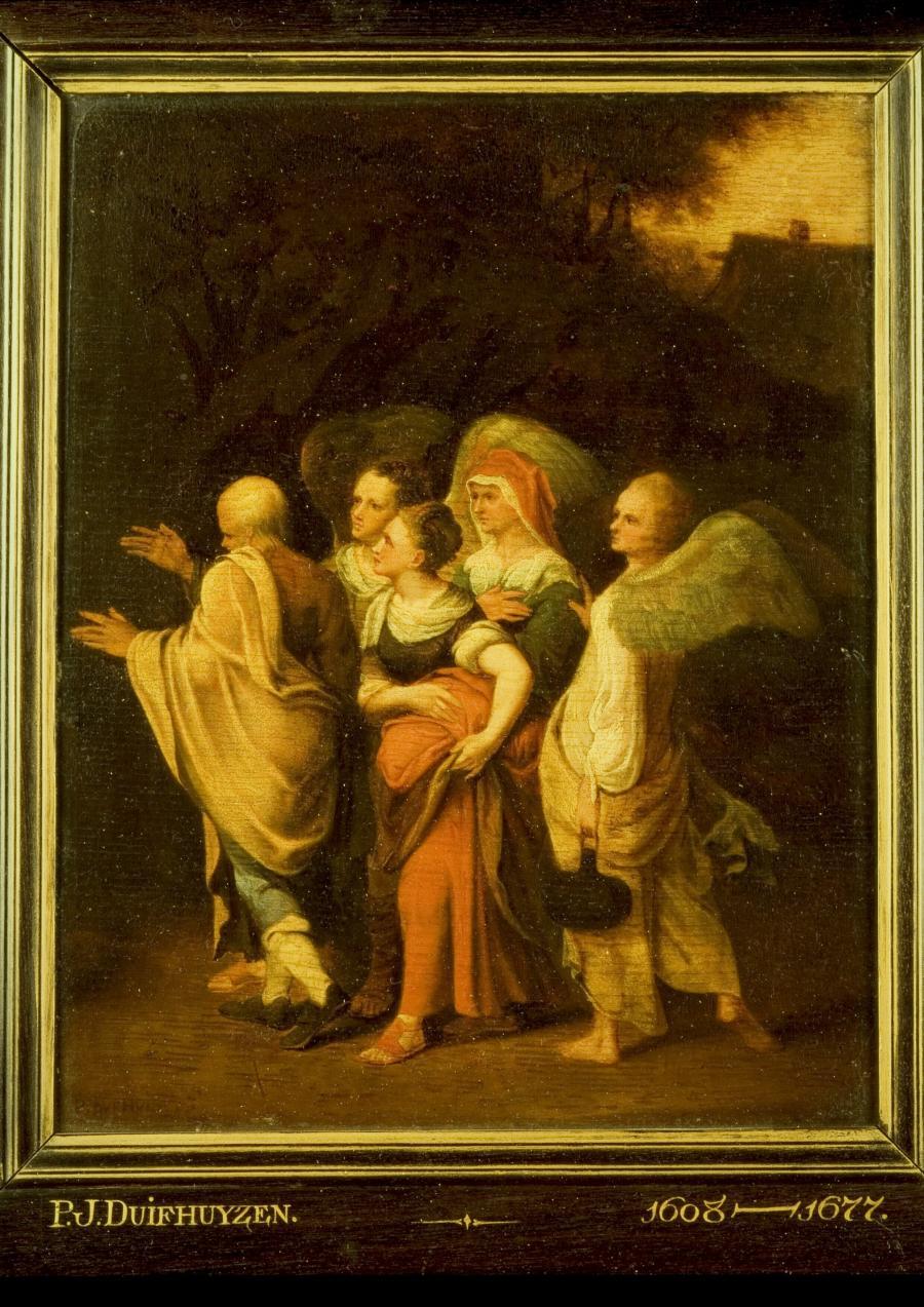 Lot en zijn dochters door de engelen uit Sodom weggeleid