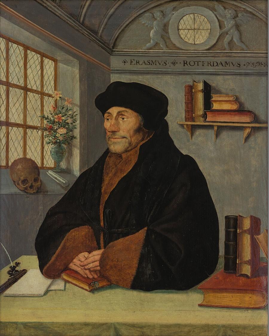 Portret van Erasmus aan zijn schrijftafel