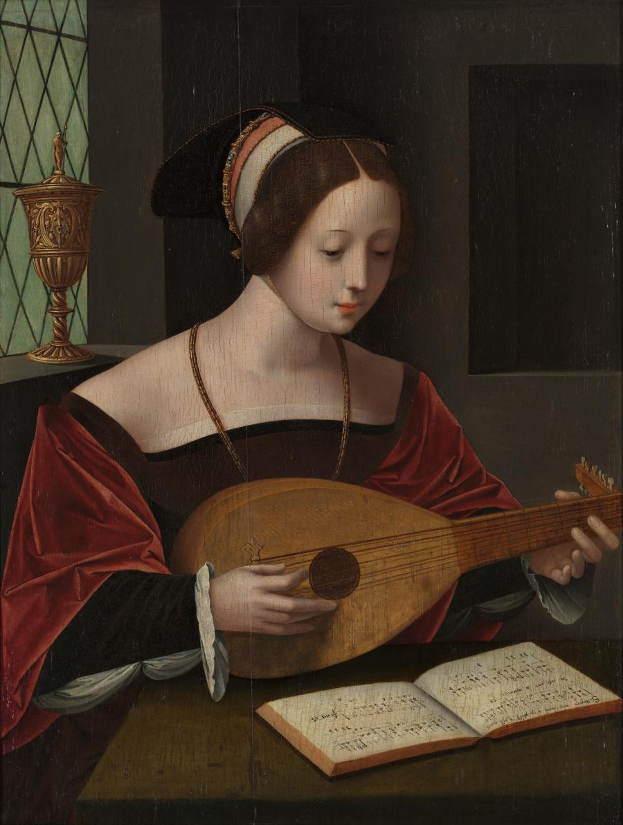 Maria Magdalene singing with the lute