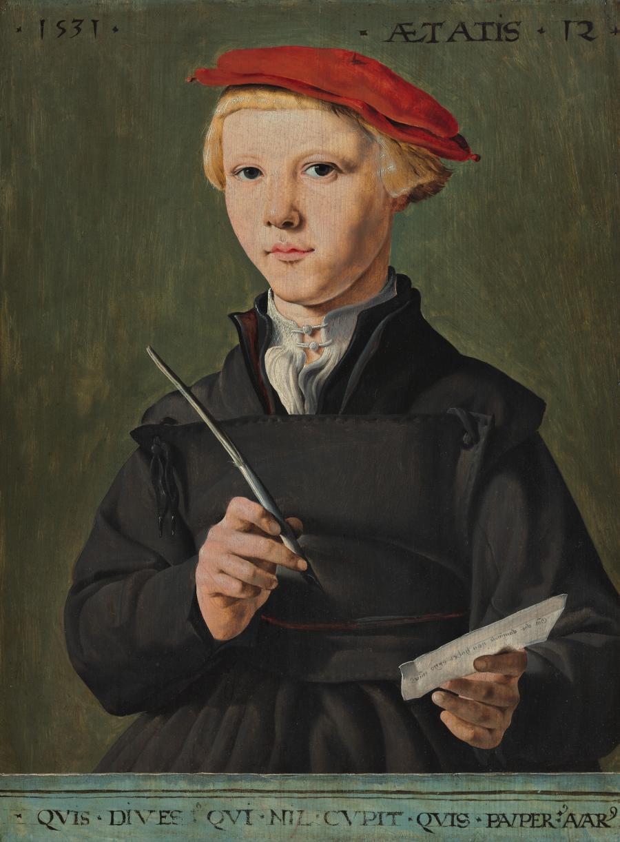 Portret van een jonge scholier