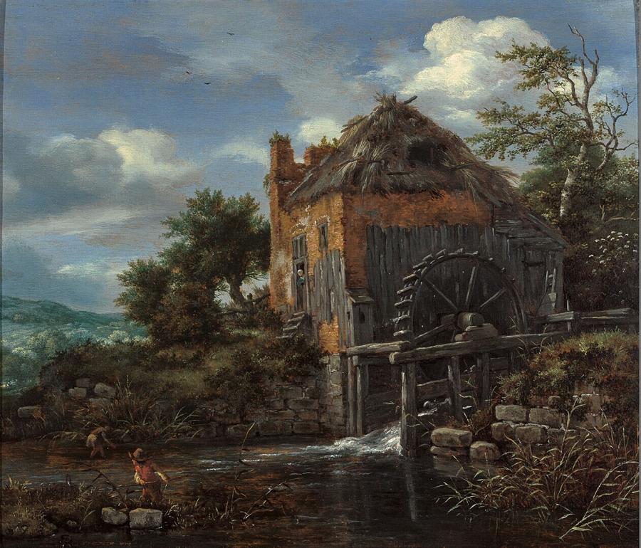 Watermolen bij een boerenwoning met rietdak