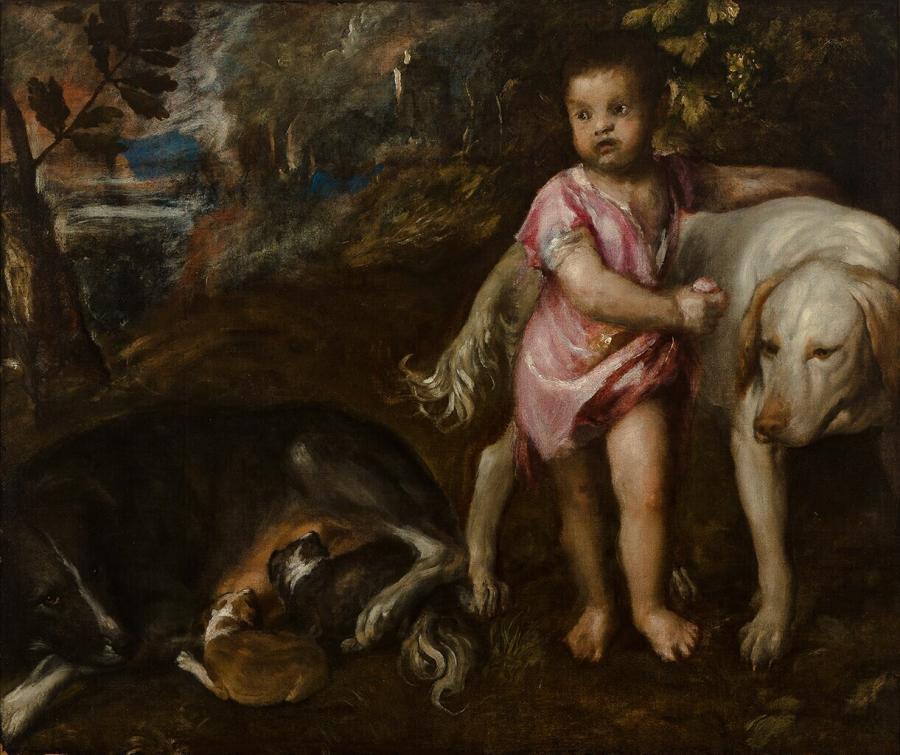 Jongen met honden in een landschap