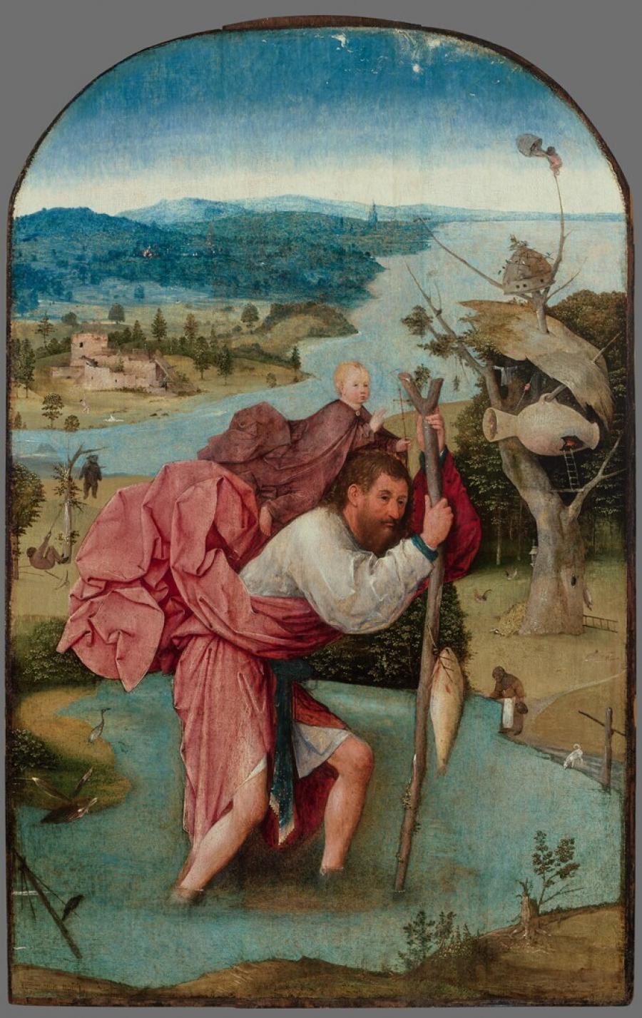 De heilige Christoffel draagt het Christuskind