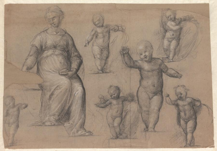 Six Studies For The Christ Child And One For The Seated Virgin In