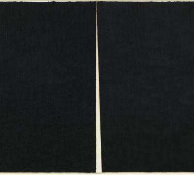 "Richard Serra: Rift #1, 2011Paintstick on handmade paper 115 3/8 x 165 1/8"" (2.9 x 4.2 m)  C/o Pictoright Amsterdam, 2017."