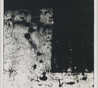 "Richard Serra: Rotterdam Horizontals #5, 2016Etching Ink, silica, and paintstick on handmade paper 43¼ x 31½"" (109.9 x 80 cm) C/o Pictoright Amsterdam, 2017."
