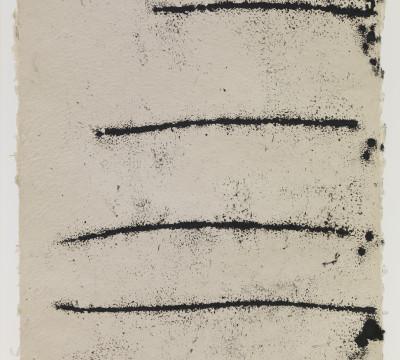 "Richard Serra: Rotterdam Horizontal #8, 2017.Etching ink, paintstick, silica and lithocrayon on paper  40 x 28½"" (101 x 71.1 cm)  C/o Pictoright Amsterdam, 2017."