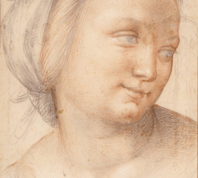 Fra Bartolommeo, Study for the face of a young woman in the painting 'Madonna delle Misericordia', circa 1515. Drawing in black and red chalk, heightened with white, on white paper. Museum Boijmans Van Beuningen (Koenings Collection).