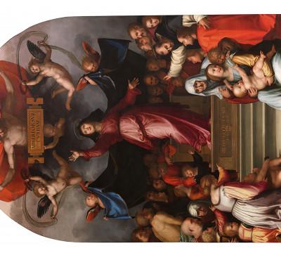 Fra Bartolommeo, 'Madonna della Misericordia', altar-piece, circa 1515. Painting in oil on panel, later transferred to canvas. Lucca, Museu Nazionale di Villa Guinigi (originally in the church of San Romano in Lucca).