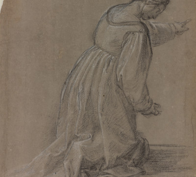 Fra Bartolommeo, Study for a kneeling woman in the painting 'Madonna della Misericordia', circa 1515. Drawing in black chalk, heightened with white, on gray prepared paper. Museum Boijmans Van Beuningen (Koenigs Collection)