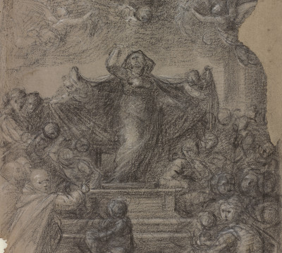 Fra Bartolommeo, Composition drawing for the painting 'Madonna della Misericordia', circa 1515. Drawing in black chalk, heightened with white, on light-gray prepared paper. Museum Boijmans Van Beuningen (Koenigs Collection).