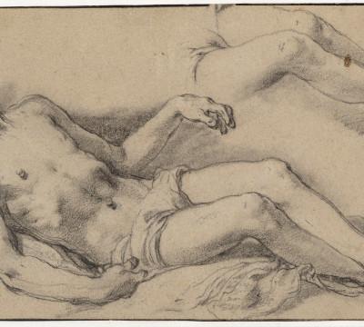 Abraham Bloemaert, Studie voor de dode Christus, circa 1625. Zwart en wit krijt, gedoezeld. Museum Boijmans Van Beuningen