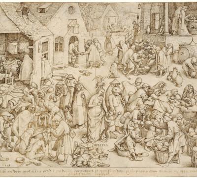 Pieter Bruegel, Caritas, 1559. Pen in bruine inkt, doorgegriffeld. Museum Boijmans Van Beuningen