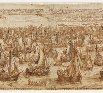 Hendrik Cornelisz Vroom, De landing van het leger van Prins Maurits bij Philippine, 1600. Pen in bruine inkt, bruin gewassen, wit gehoogd, doorgegriffeld. Museum Boijmans Van Beuningen