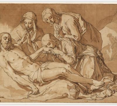 Abraham Bloemaert, De bewening van Christus, circa 1625. Zwart krijt, pen in bruine inkt, bruin gewassen, wit gehoogd, gekwadreerd. Museum Boijmans Van Beuningen