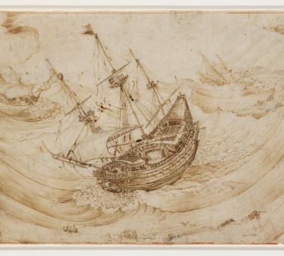 Hendrik Cornelisz Vroom, Schepen in een storm, circa 1595 - 1600. Pen in bruine inkt. Museum Boijmans Van Beuningen