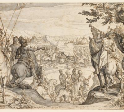 Jacques de Gheyn, Ruitergevecht, 1599. Pen in bruine inkt, grijs gewassen, doorgegriffeld. Museum Boijmans Van Beuningen