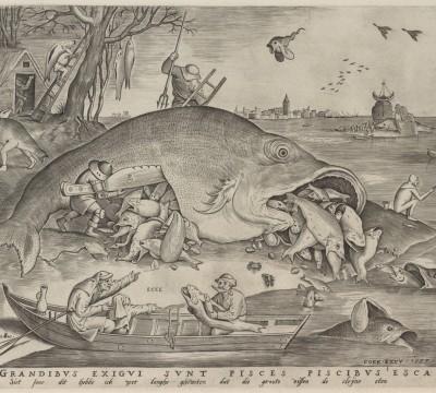 Pieter van der Heyden, Big Fish Eat Little Fish, 1557, Museum Boijmans Van Beuningen, Rotterdam. From the estate of Dr. J.C.J. Bierens de Haan 1951
