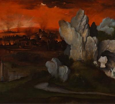 Joachim Patinir, Landscape with the Destruction of Sodom and Gomorrah, c. 1520, Museum Boijmans Van Beuningen, Rotterdam. Loan: Rijksdienst voor het Cultureel Erfgoed 1948 (former collection Koenigs)