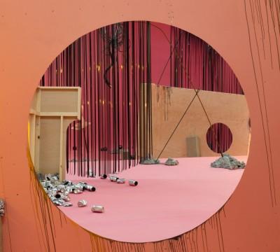 Anne Hardy, 'Falling and Walking (phhhhhhhhhhh phossshhhhh crrhhhhzzz mn huaooogh), (detail)', exhibition view: Art Night, London, 2017, © Anne Hardy, courtesy Maureen Paley, London