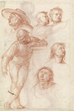 Fra Bartolommeo, Young man leaning on a pedestal, and five heads, studies for bystanders in the painting 'Madonna della Misericordia', circa 1515. Drawing in red chalk on white paper. Museum Boijmans Van Beuningen (Koenigs Collection)