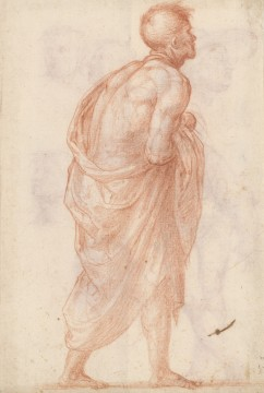 Fra Bartolommeo, Man walking to the right, study for a bystander in the painting 'Madonna della Misericordia', circa 1515. Drawing in red chalk on light-gray prepared paper. Museum Boijmans Van Beuningen (Koenigs Collection)