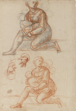 Fra Bartolommeo, Study for a mother and two children in the painting 'Madonna della Misericordia', circa 1515. Drawing in black and red chalk, heightened with white, on white prepared paper. Museum Boijmans Van Beuningen (Koenigs Collection)