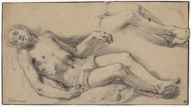 Abraham Bloemaert, Study for the Dead Christ in the Lamentation. Black and white chalk, stumped. Museum Boijmans Van Beuningen.